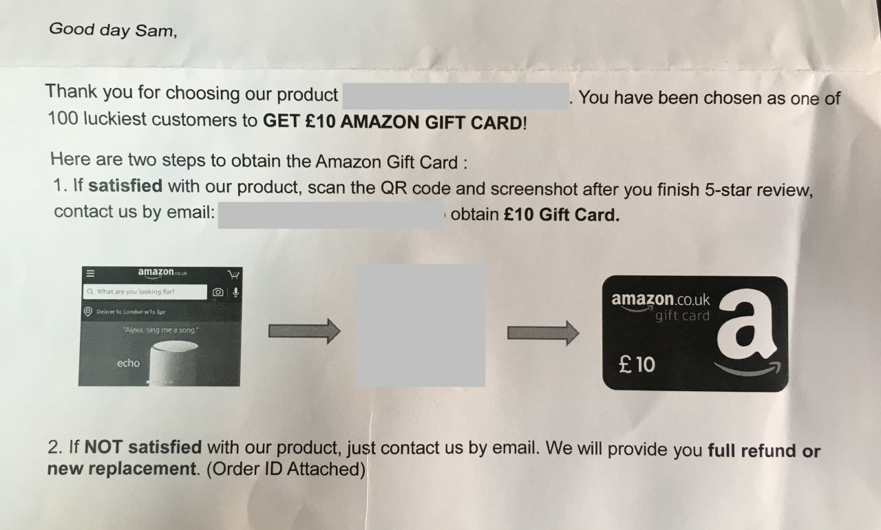 Amazon seller offer £10 bribe for a 5* review