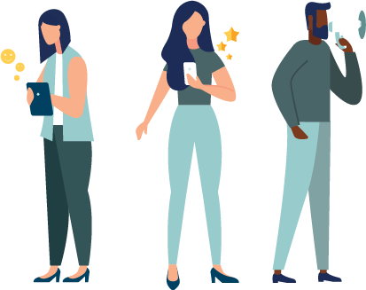 Illustration of people filming video